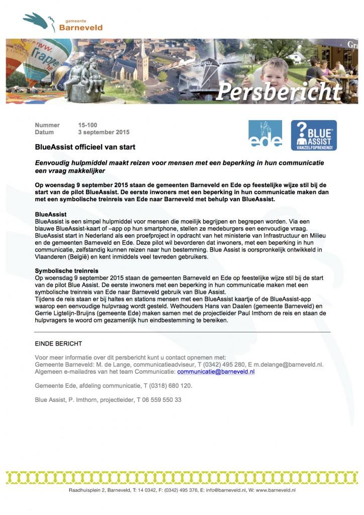 Persbericht 15-100 Blue Assist officieel van start